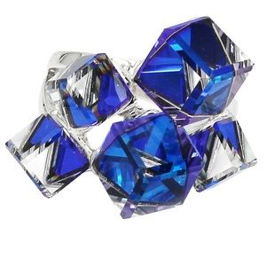 Square candy crystal silver blue ring